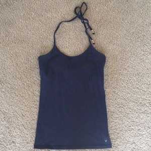 Dark blue halter tank top